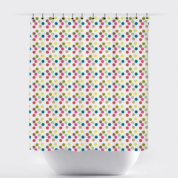 Multi Colored Polka Dot Shower Curtain