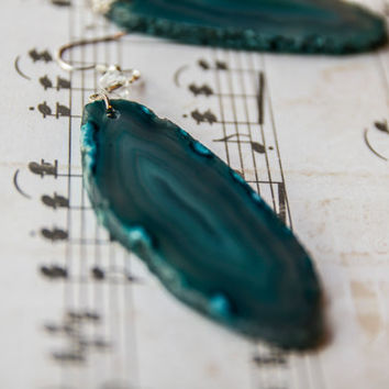 Blue agate rock earrings