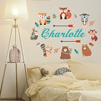 Custom Name Boho Wall Decal Animal Full Color Mural for Nursery Girls Personalized Name Arrow Colorful Vinyl Sticker SD10