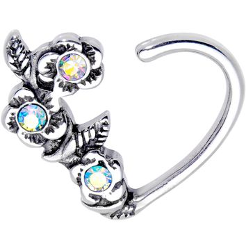 "3/8"" Aurora Gem Bunch of Roses Right Daith Cartilage Tragus Earring"