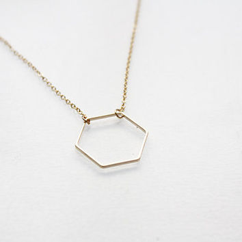 hexagon necklace - minimalist geometric dainty jewelry / gift for her, gift under 25