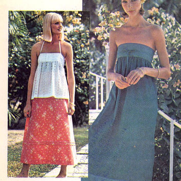 70s Wrap dress Halter top and skirt boho Hippie Hipster summer style vintage sewing pattern McCalls 5042 Bust 32 to 34 Uncut