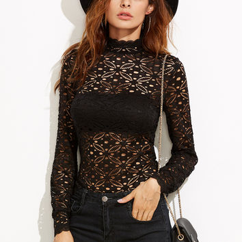 Black High Neck Hollow Out Floral Lace T-shirt