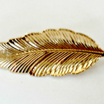 Beautiful vintage gold feather brooch retro 80s feather fashion pin jewelry