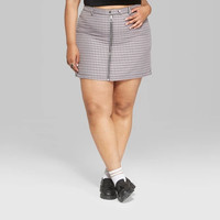Women's Plus Size Plaid Mini Skirt with Zippers - Wild Fable™ Violet