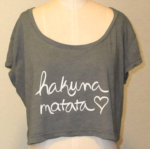 Crop Top Hakuna Matata in Forest Green and White by ShopRIC