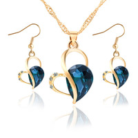 Crystal Rhinestone Heart Necklace Earrings Pair Jewelry Set 3 Colors Sets For Women Fashion Love