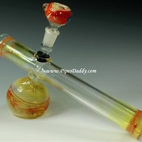 Zoom Tube Glass Steam Roller Bubbler with Bowl - Red