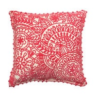 Peruvian Embroidered Cotton Pillow - Coral
