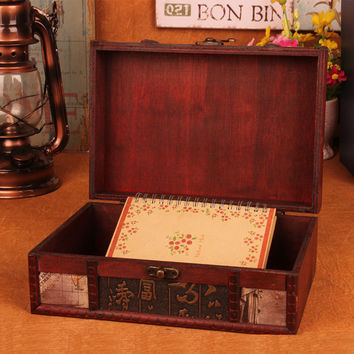 23X16X9.5cm Retro desktop book finishing wood Princess jewelry box storage box