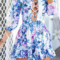 Blue Bohemian Criss-Cross Backless Dress