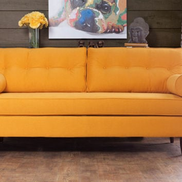Furniture of america SM8818-SF Madelyn yellow fabric sofa with button tufted backs