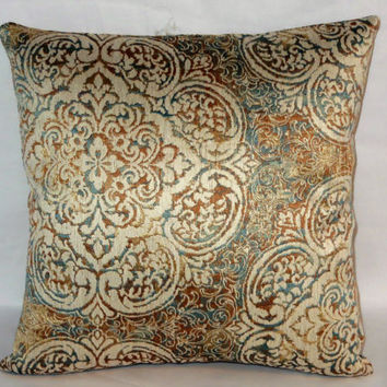"Medallion Brocade Pillow,  Ivory Blue Gold Copper, Jacquard Tapestry, 17"" Square, Zipper Cover Only or Insert Included, Ready to Ship"
