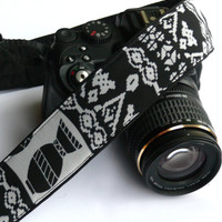 Aztec Camera Strap. DSLR, SLR Camera Strap. Black and Gray Camera Strap. Camera Accessories