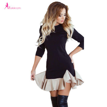 Spring Autumn Woman Dress 2017 Mini Ball Gown Dress Fashion Brief Style Ruffles Black Gray Patchwork Elegant Women Dress Clothes