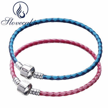 Slovecabin MOMENTS Woven Leather Bracelet For Women 2017 Summer Style 925 Sterling Silver Clasp Bracelet For DIY Jewelry Marking