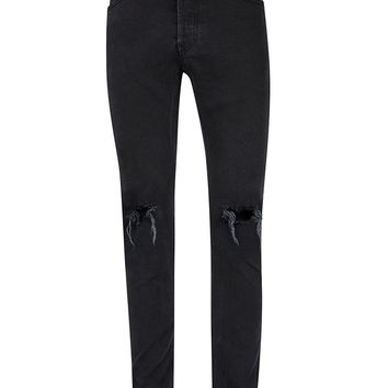 Washed Black Ripped Stretch Skinny Jeans | Topman