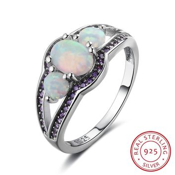Oval Opal Stone With Purple CZ Soild 925 Sterling Silver Ring Elegant Party Jewelry Gifts For Mom (RI102909)