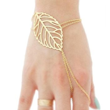 Gold Leaf Finger Bracelet