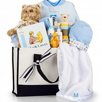 Winnie the Pooh Embroidered Baby Gift Set-Boy: Baby Gift Baskets - A Winnie the Pooh collection for a baby boy, bundled with an elegantly embroidered blanket and presented in a structured, two-handled canvas tote.