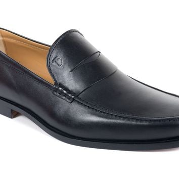 Tod's Men's Classic Matte Black Leather Penny Loafers