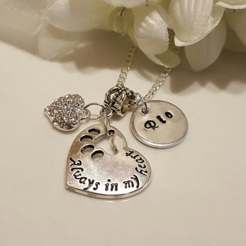 Always in my heart - Hand stamped Sterling Silver Necklace Remembrance Sympathy Pet Loss Jewelry, Dog Cat Jewelry