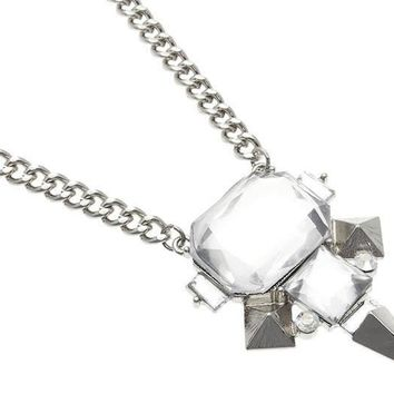 Silver Spike Design with Faceted Glass Bead Necklace