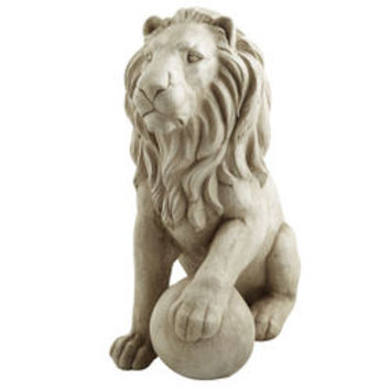 Lion Statues with Paw on Ball - Antique White