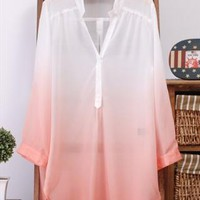 Gradient before long after short chiffon casual shirts from Fanewant