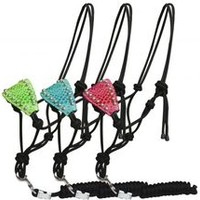Showman Alligator Print Bronc Style Rope Halter. Adjustable derby nylon rope halter with removable 7 Ft lead