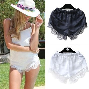 Fashion Black/White Free Size Women Girl Elastic Casual Shorts High Waist Lace Shorts Croth Fitness