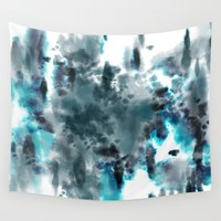 Neon Turquoise Tie-Dye Wall Tapestry by Diane Pascual