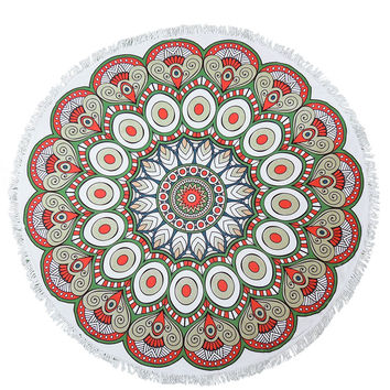 Red and Green Bohemian Round Beach Towel Roundie Blanket