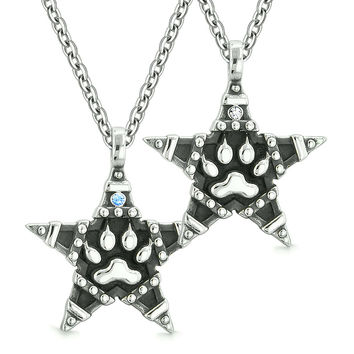 Wolf Paw Magic Super Star Pentacle Powers Love Couples or Best Friends Blue White Crystals Necklaces