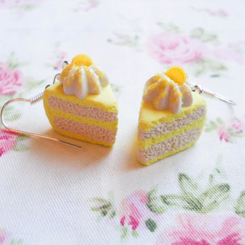 Lemon Cake Earrings, Cake Earrings, Cake Slice Earrings, Food Earrings, Dessert Earrings, Lemon Earrings, Miniature Food, Citrus, Summer