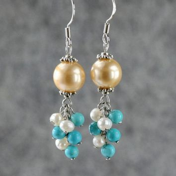 Champagne pearl turquoise dangling chandelier Earrings Bridesmaids gifts Free US Shipping handmade Anni designs