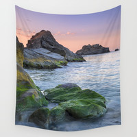 Green... Sunrise at the beach Wall Tapestry by Guido Montañés