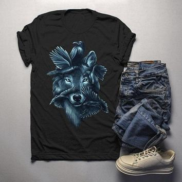 Men's Hipster T Shirt Wolf Shirt Symbiotic Nature Graphic Tee Birds Shirts