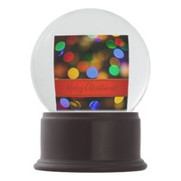 Multicoloured Christmas lights. Add photo and text Snow Globe