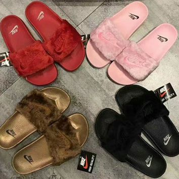 """Nike"" Women Lover Fur Slipper Shoes 4 colors H 8-18"