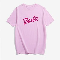 Barbie Letter Print T-Shirt Women Sexy Short Sleeve Crewneck t shirt Casual tshirts clothes Tops Men Outfits tees