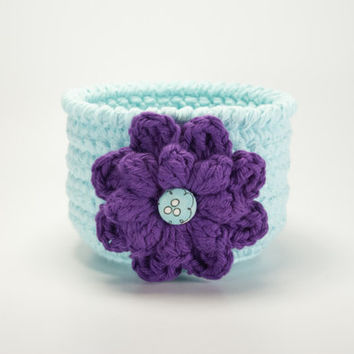 Mothers Day gift, teacher gift, crochet basket, crochet bowl, storage bin, catchall, crochet flower pot, robin's egg blue bowl, gift basket