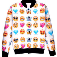 White 3D Emoji Diamond Print Baseball Jacket