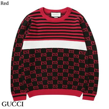 GUCCI 2018 autumn and winter color matching striped jacquard sweater Red