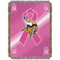 Minnesota Vikings NFL Woven Tapestry Throw (Breast Cancer Awareness) (48x60)