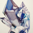 "Original 8x10"" Watercolor Painting: Blue Crystals"