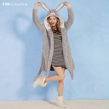 Casual Home Lovely Double Sided Ladies Long Sleeve Gowns Stylish Hats Jacket [9576703311]