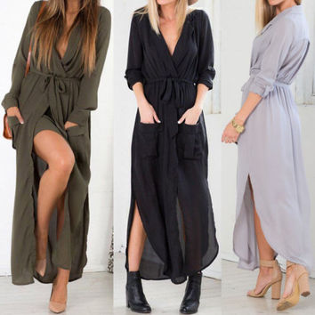 Women Sexy V Neck Split Dress Long Sleeve Chiffon Beach Party Maxi Dress Jacket