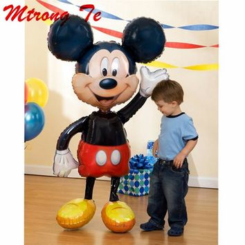 Mickey Minnie Balloons Large Giant 112cm Big Red Bowknot Standing Mouse Airwalker Balloons for Kids Birthday Party Decorations