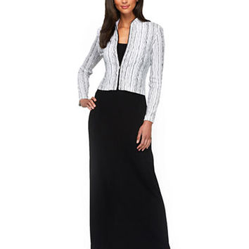 Alex Evenings Plus Wavy Stripe Jacket and Maxi Dress Set